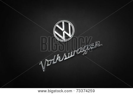 Volkswagen Vintage Logo On Retro Auto