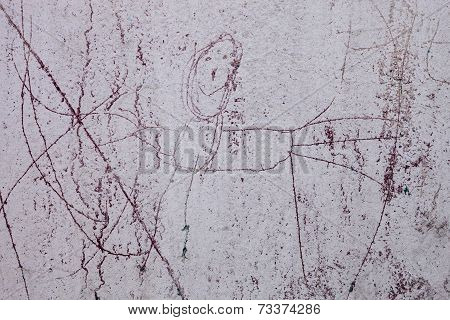 Whitewashed Wall With The Naive Drawing Of A Human Figure