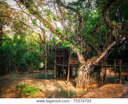 Wooden Arbour At Tropical Rain Forest At Outdoors Park. Laos
