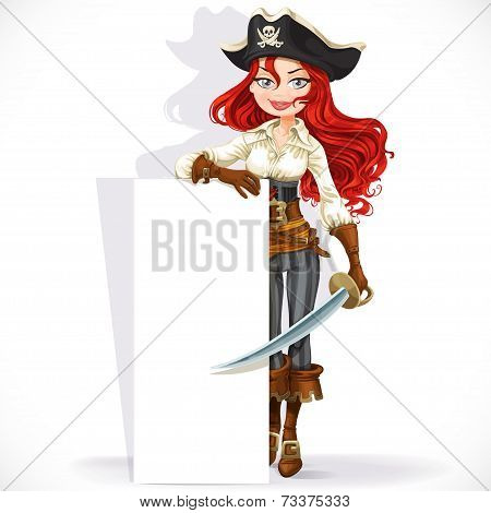 Cute pirate girl hold big vertical banner