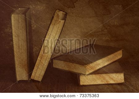 Antiquarian books on wooden table