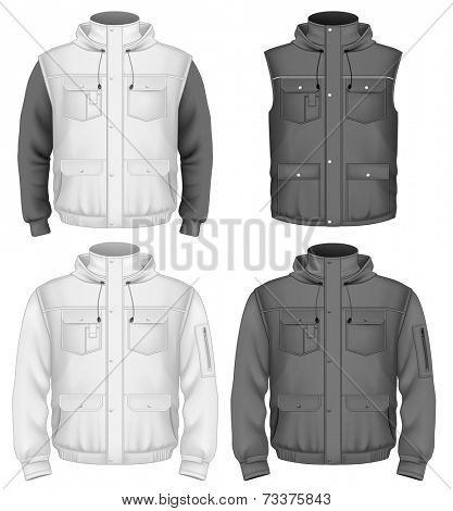 Men's hooded body warmer with sweater (only sleeves), flight jacket. Illustration contains gradient mesh. Photo-realistic vector illustration.