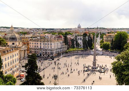 panoramic view of Piazza del Popolo and St. Peter's Basilica, Rome, Italy