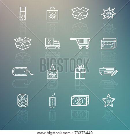 Shopping Icons Set On Retina Background
