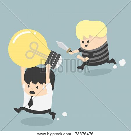 Concepts Cartoons Thief Stealing Idea Businessman