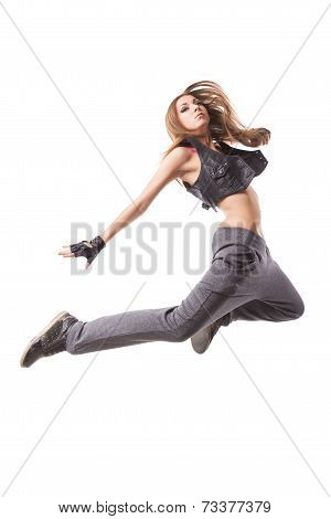 Modern Girl Jumping On Isolated Background