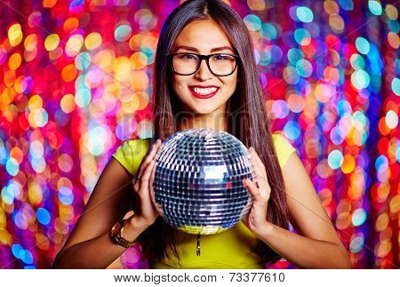 Portrait of a gorgeous girl with mirror ball