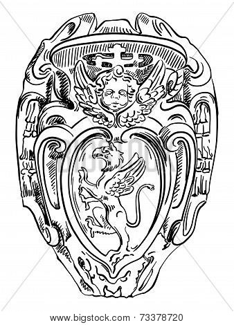 old historical heraldic design of building in Roma, Italy