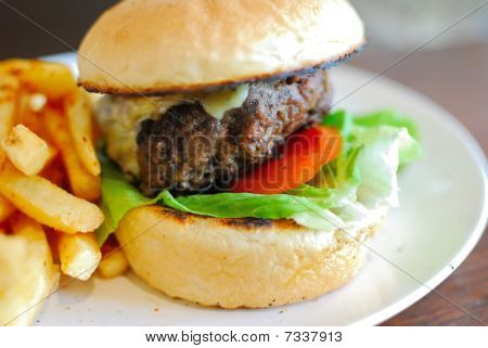 Fast Food Hamburger And French Fries