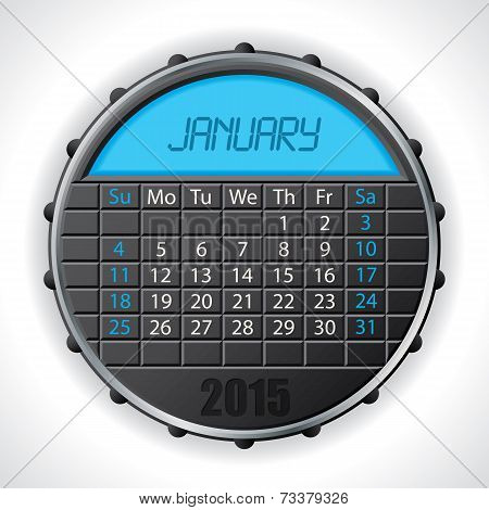 2015 January Calendar With Lcd Display