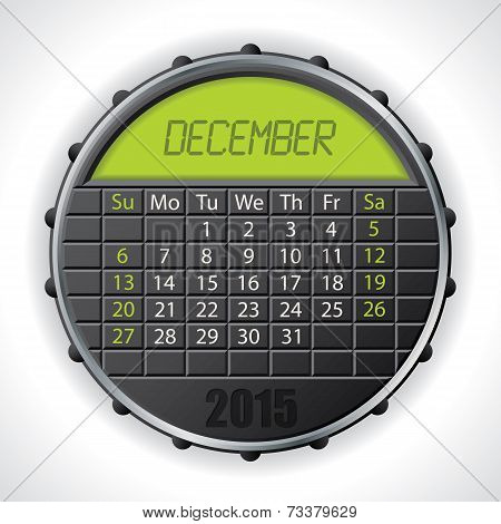 2015 December Calendar With Lcd Display