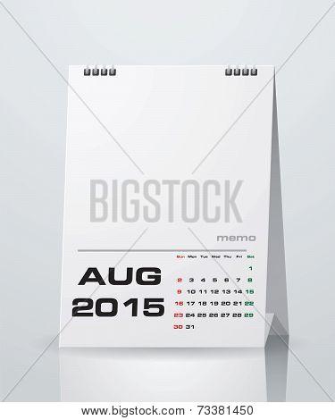 Simple 2015 year vector calendar : August 2015
