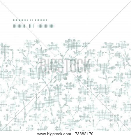 Vector abstract gray bush leaves textile horizontal frame seamless pattern background