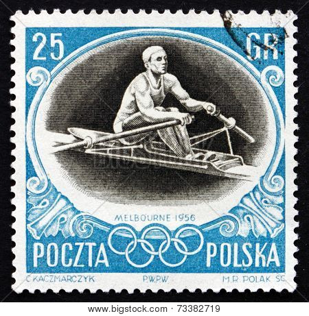 Postage Stamp Poland 1956 Sculling, Olympic Sports, Melbourne 56
