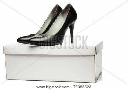 Black stiletto High Heels Shoe on the Box