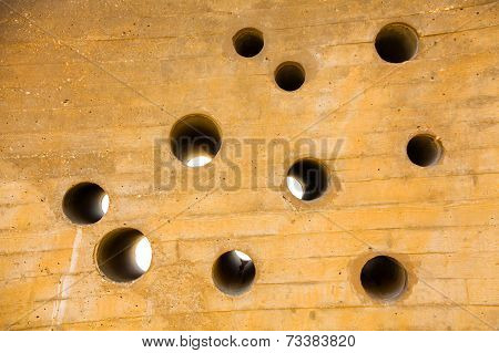 Wall With A Plurality Of Holes Round