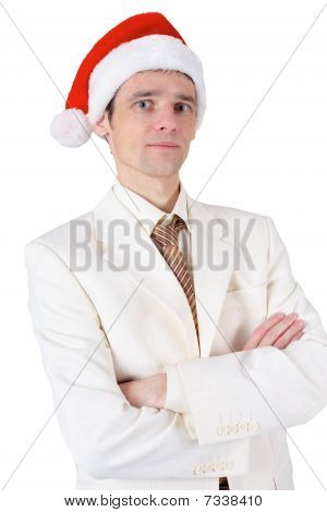 Businessman In Red Christmas Hat On White Background