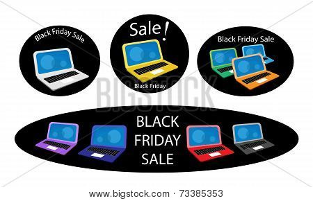 Mobile Computer on Black Friday Sale Background