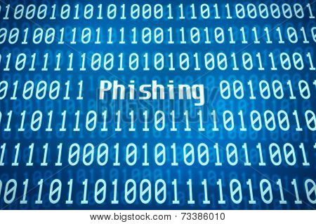 Binary code with the word Phishing in the center