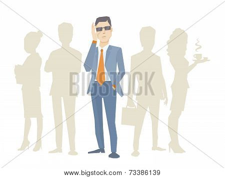 Vector Illustration Of A Portrait Of Analyst Man In A Jacket Hand Holds Glasses Stands In The Center
