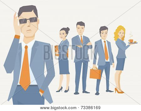 Vector Illustration Of A Portrait Of Analyst Man In A Jacket Hand Holds Glasses On The Background Of
