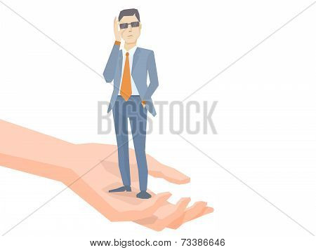 Vector Illustration Of A Portrait Of Analyst Man In A Jacket Hand Holds Glasses Standing Together On
