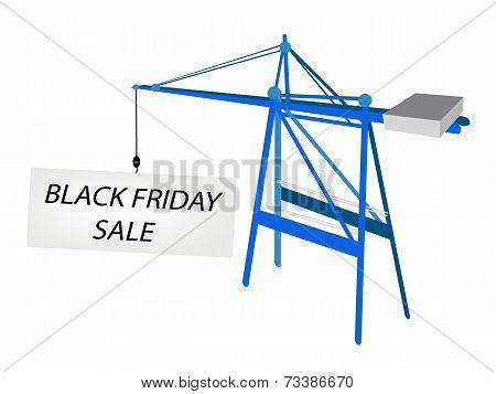 Blue Mobile Crane with Black Friday Billboard