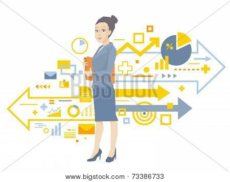 Vector Illustration Portrait Of A Woman Manager Keeps A Folder With Documents In Hands Stands Near T