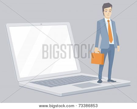 Vector Illustration Of A Portrait Of Miniature Man In A Jacket Lawyer With A Briefcase In His Hand S