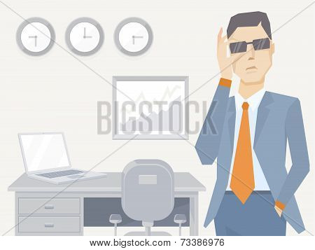 Vector Illustration Of A Portrait Of Analyst Man In A Jacket Hand Holds Glasses Stands