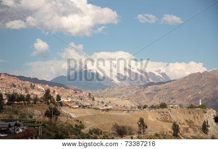 La Paz and Illimani mountain peak in Bolivia