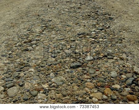 gravel rural road closeup fragment