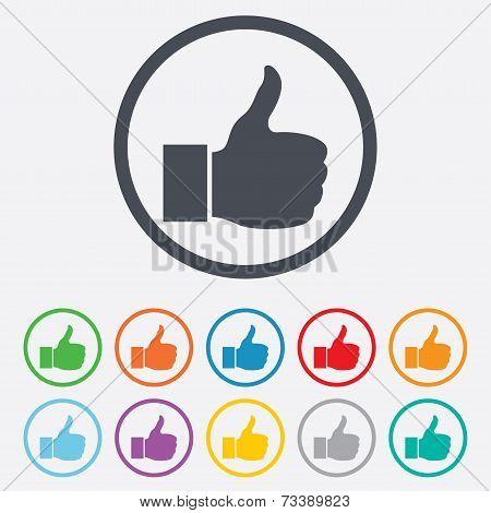 Like sign icon. Hand finger up symbol.