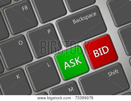 Computer Keyboard With Ask And Bid Buttons