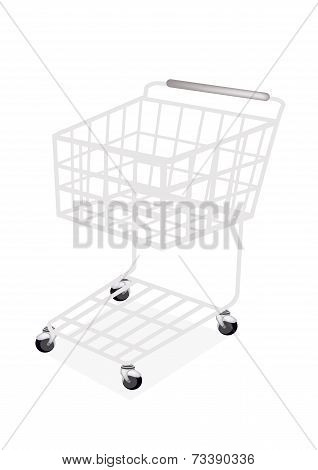 Empty Supermarket Shopping Cart on White Background