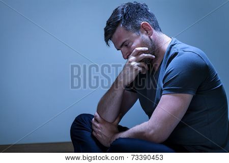Portrait Of Sorrowful, Grieving Man