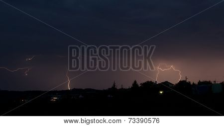 Lightning bolt striking in the sky from clouds