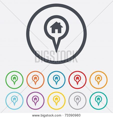 Map pointer house sign icon. Marker symbol.
