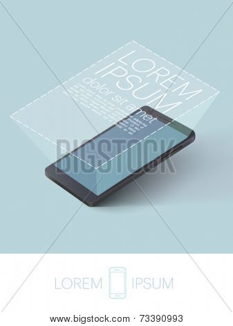 mobile phone with magnified screen - vector illustration