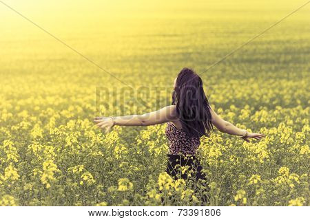 Beautiful Woman In Meadow Of Yellow Flowers From Behind