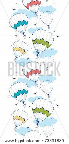 colorful ot air balloons vertical border seamless pattern background