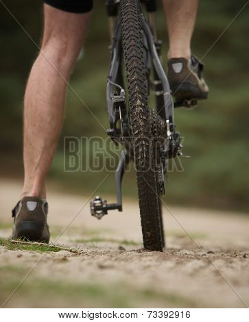 Rear View Low Angle Man Legs On Mountain Bike