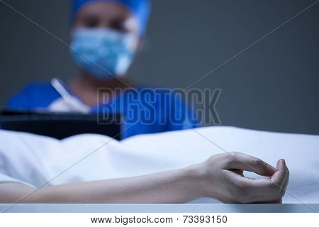 Woman Working In Mortuary