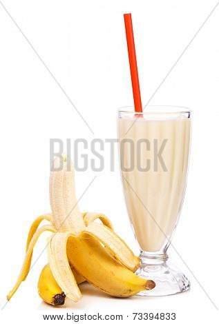 Yummy banana milkshake on a white background
