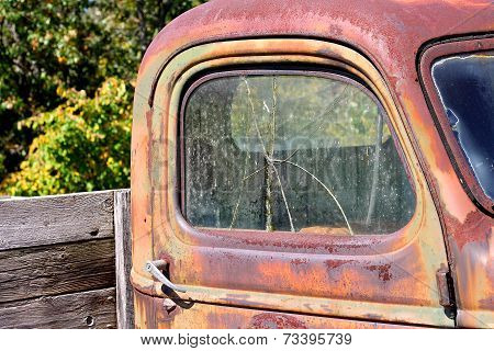 Broken Window On Old Vintage Pickup Truck