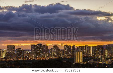 Waikiki And Honolulu Lights