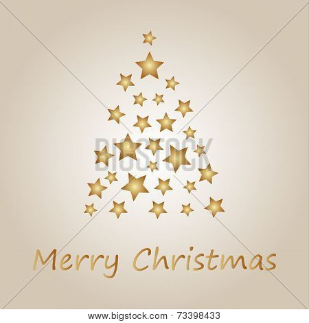 Simple gold christmas tree from stars