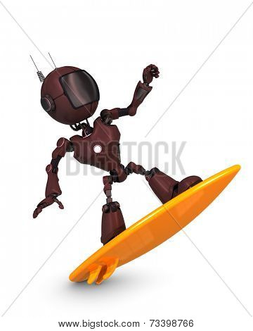 3D Render of a Android surfer