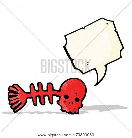 cartoon spooky fish bones symbol with speech bubble
