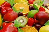 picture of lame  - Fresh fruits and vegetables in the horizontal plane